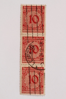2006.265.132 - 134 front Postage stamp, 10 mark, issued in Germany during hyperinflation in the Weimar Republic  Click to enlarge