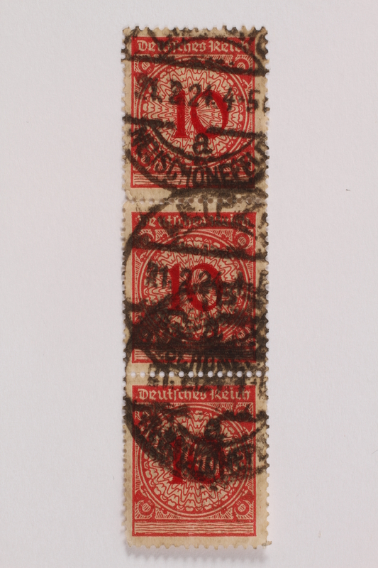 2006.265.135 - 137 front Postage stamp, 10 mark, issued in Germany during hyperinflation in the Weimar Republic