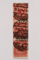2006.265.135 - 137 front Postage stamp, 10 mark, issued in Germany during hyperinflation in the Weimar Republic  Click to enlarge