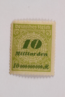 2006.265.138 front Postage stamp, 10 milliarden mark, issued in Germany during hyperinflation in the Weimar Republic  Click to enlarge