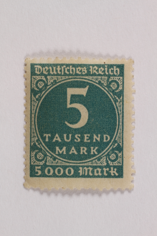 2006.265.139 front Postage stamp, 5 tausend, issued in Germany during hyperinflation in the Weimar Republic