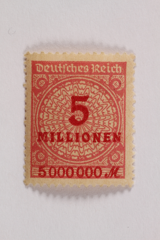 2006.265.140 front Postage stamp, 5 millionen, issued in Germany during hyperinflation in the Weimar Republic