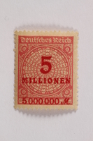 2006.265.140 front Postage stamp, 5 millionen, issued in Germany during hyperinflation in the Weimar Republic  Click to enlarge