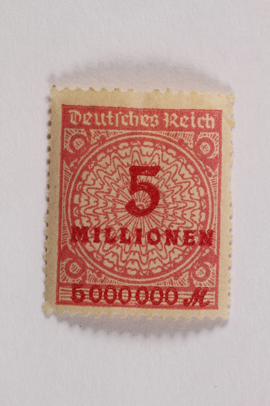 2006.265.141 front Postage stamp, 5 millionen mark, issued in Germany during hyperinflation in the Weimar Republic