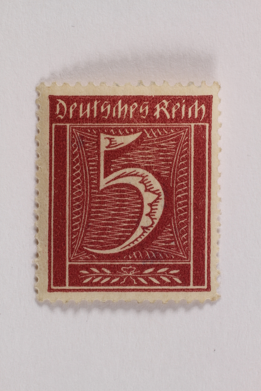 2006.265.142 front Postage stamp, 5 mark, issued in Germany during hyperinflation in the Weimar Republic