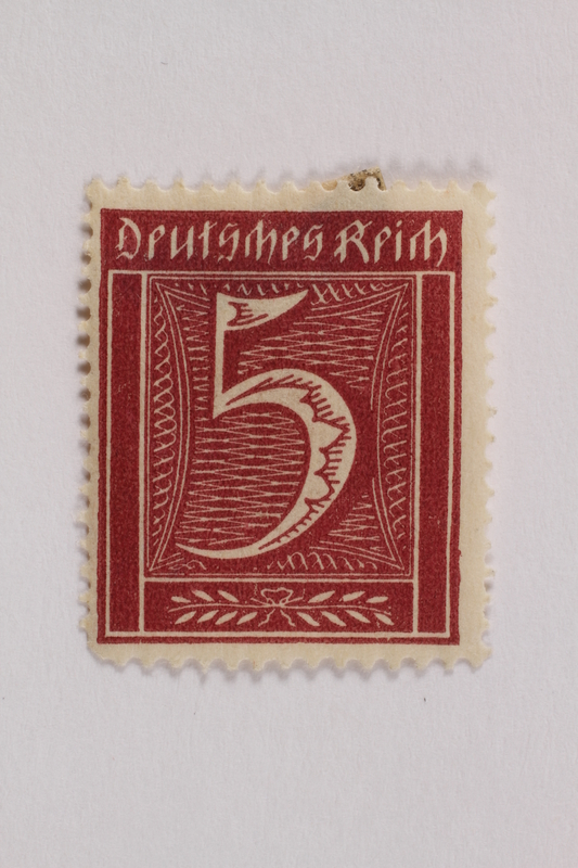 2006.265.143 front Postage stamp, 5 mark, issued in Germany during hyperinflation in the Weimar Republic