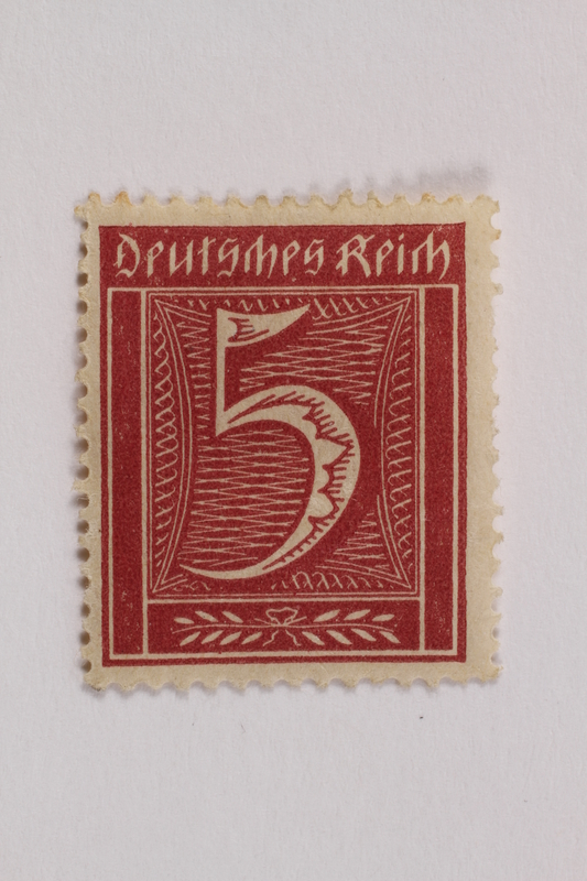 2006.265.144 front Postage stamp, 5 mark, issued in Germany during hyperinflation in the Weimar Republic