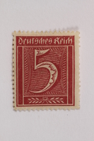 2006.265.144 front Postage stamp, 5 mark, issued in Germany during hyperinflation in the Weimar Republic  Click to enlarge