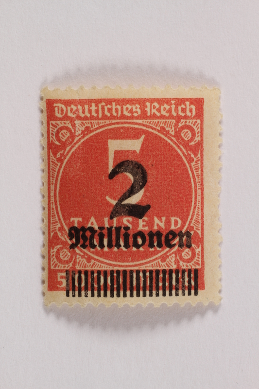 2006.265.145 front Postage stamp, 5 tausend mark, issued in Germany during hyperinflation in the Weimar Republic