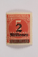 2006.265.145 front Postage stamp, 5 tausend mark, issued in Germany during hyperinflation in the Weimar Republic  Click to enlarge