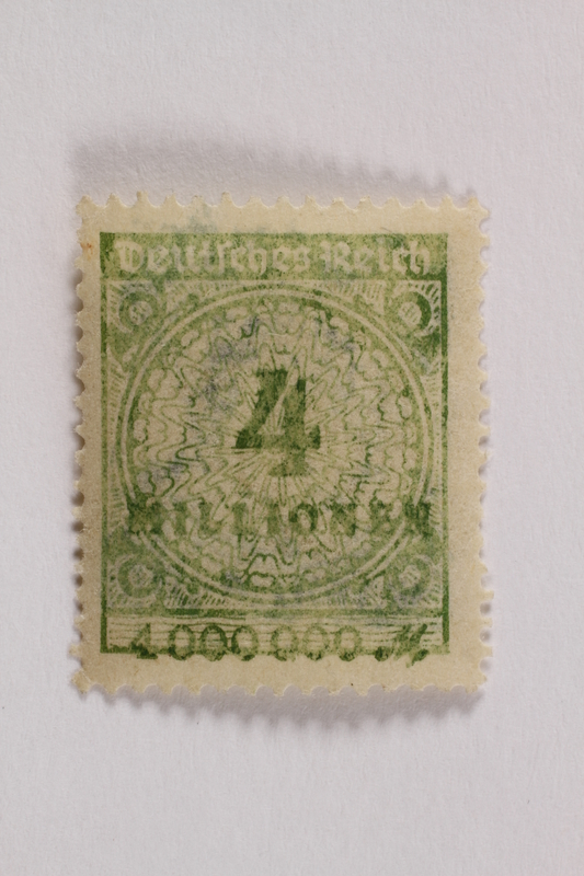 2006.265.148 front Postage stamp, 4 million mark, issued in Germany during hyperinflation in the Weimar Republic