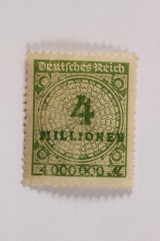 2006.265.149 front Postage stamp, 4 million mark, issued in Germany during hyperinflation in the Weimar Republic