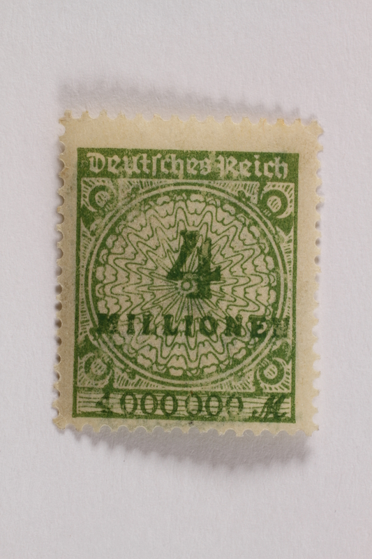2006.265.150 front Postage stamp, 4 million mark, issued in Germany during hyperinflation in the Weimar Republic