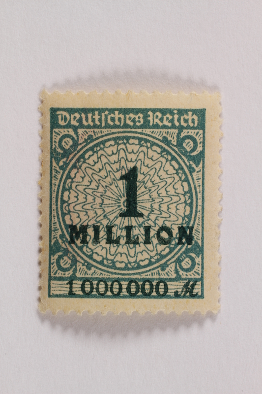 2006.265.153 front Postage stamp, 1 million mark, issued in Germany during hyperinflation in the Weimar Republic