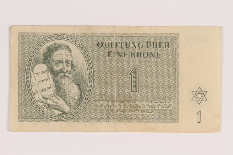 2009.263.3 front Theresienstadt ghetto-labor camp scrip, 1 krone note, issued to a Dutch Jewish inmate