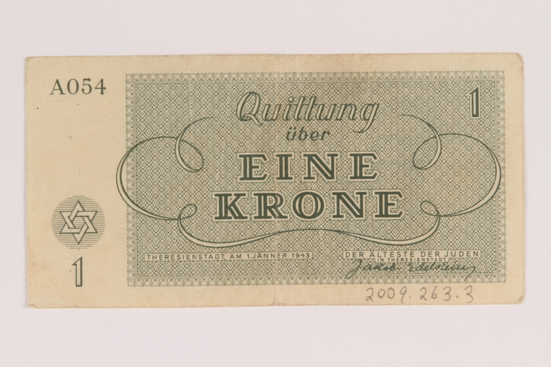2009.263.3 back Theresienstadt ghetto-labor camp scrip, 1 krone note, issued to a Dutch Jewish inmate