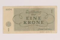 2009.263.3 back Theresienstadt ghetto-labor camp scrip, 1 krone note, issued to a Dutch Jewish inmate  Click to enlarge