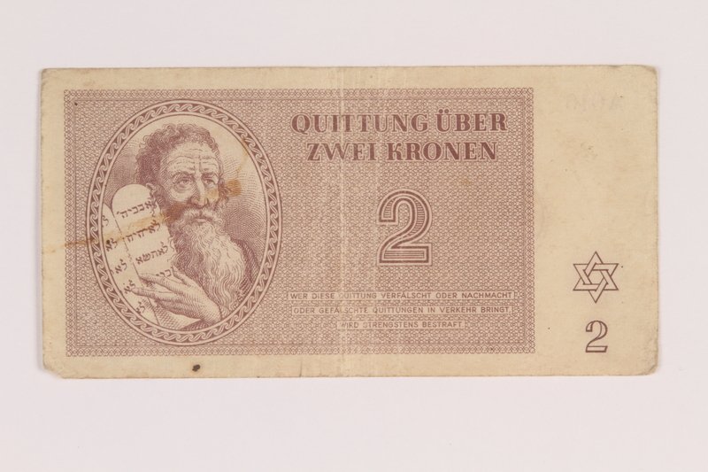 2009.263.4 front Theresienstadt ghetto-labor camp scrip, 2 kronen note, issued to a Dutch Jewish inmate