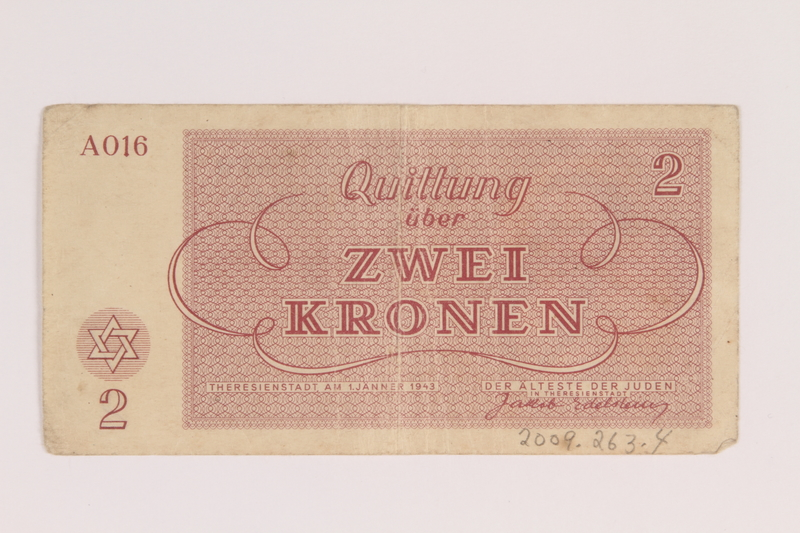 2009.263.4 back Theresienstadt ghetto-labor camp scrip, 2 kronen note, issued to a Dutch Jewish inmate