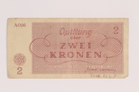 2009.263.4 back Theresienstadt ghetto-labor camp scrip, 2 kronen note, issued to a Dutch Jewish inmate  Click to enlarge