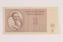 Theresienstadt ghetto-labor camp scrip, 2 kronen note, issued to a Dutch Jewish inmate