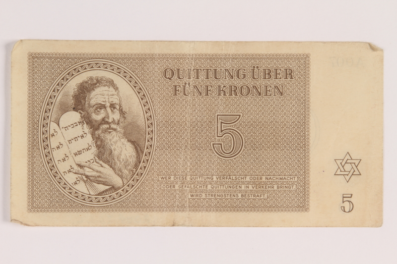 2009.263.6 front Theresienstadt ghetto-labor camp scrip, 5 kronen note, issued to a Dutch Jewish inmate