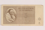 Theresienstadt ghetto-labor camp scrip, 5 kronen note, issued to a Dutch Jewish inmate
