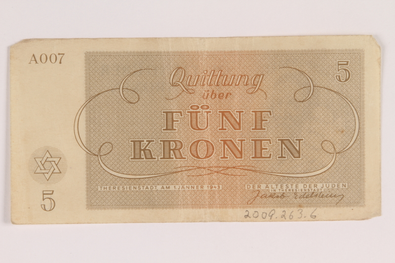 2009.263.6 back Theresienstadt ghetto-labor camp scrip, 5 kronen note, issued to a Dutch Jewish inmate
