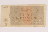2009.263.6 back Theresienstadt ghetto-labor camp scrip, 5 kronen note, issued to a Dutch Jewish inmate  Click to enlarge
