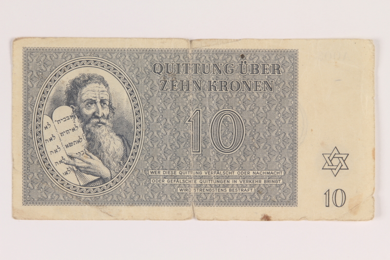 2009.263.7 front Theresienstadt ghetto-labor camp scrip, 10 kronen note, issued to a Dutch Jewish inmate