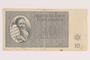 Theresienstadt ghetto-labor camp scrip, 10 kronen note, issued to a Dutch Jewish inmate