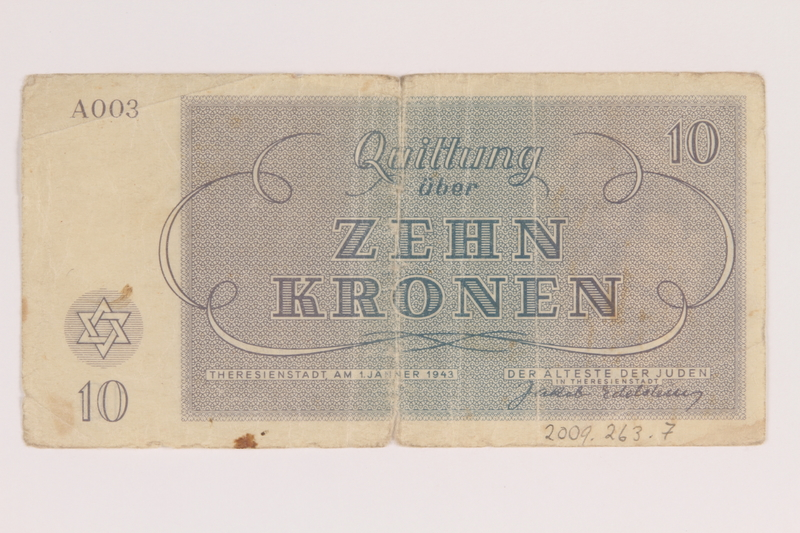 2009.263.7 back Theresienstadt ghetto-labor camp scrip, 10 kronen note, issued to a Dutch Jewish inmate