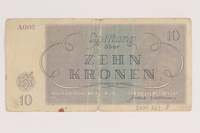 2009.263.7 back Theresienstadt ghetto-labor camp scrip, 10 kronen note, issued to a Dutch Jewish inmate  Click to enlarge
