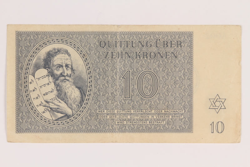 2009.263.8 front Theresienstadt ghetto-labor camp scrip, 10 kronen note, issued to a Dutch Jewish inmate