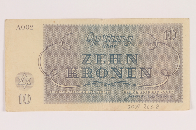 2009.263.8 back Theresienstadt ghetto-labor camp scrip, 10 kronen note, issued to a Dutch Jewish inmate