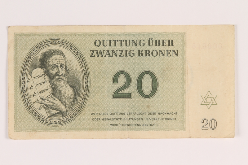 2009.263.9 front Theresienstadt ghetto-labor camp scrip, 20 kronen note, issued to a Dutch Jewish inmate
