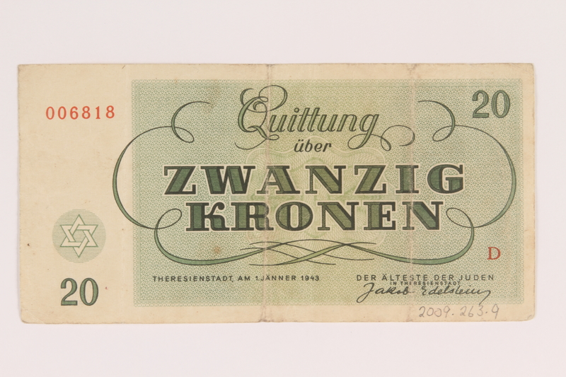 2009.263.9 back Theresienstadt ghetto-labor camp scrip, 20 kronen note, issued to a Dutch Jewish inmate