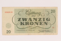 2009.263.9 back Theresienstadt ghetto-labor camp scrip, 20 kronen note, issued to a Dutch Jewish inmate  Click to enlarge