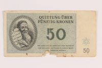 2009.263.10 front Theresienstadt ghetto-labor camp scrip, 50 kronen note, issued to a Dutch Jewish inmate  Click to enlarge