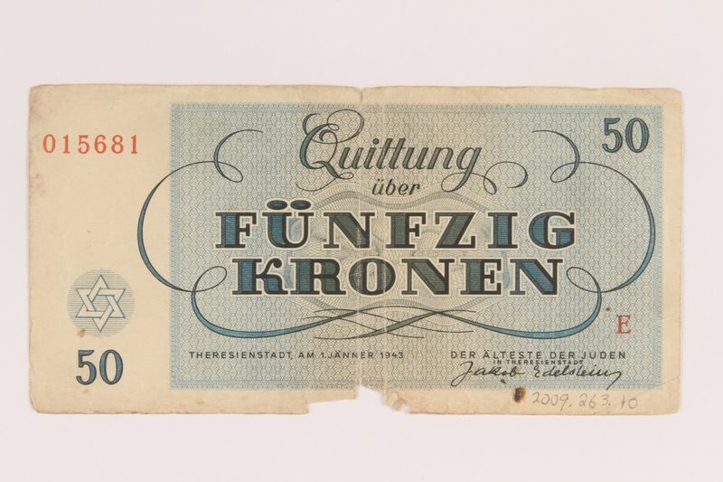 2009.263.10 back Theresienstadt ghetto-labor camp scrip, 50 kronen note, issued to a Dutch Jewish inmate