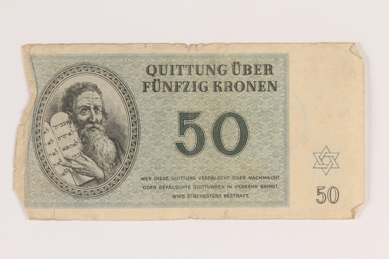 2009.263.11 front Theresienstadt ghetto-labor camp scrip, 50 kronen note, issued to a Dutch Jewish inmate