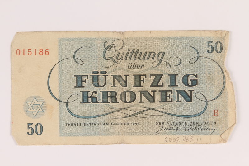 2009.263.11 back Theresienstadt ghetto-labor camp scrip, 50 kronen note, issued to a Dutch Jewish inmate