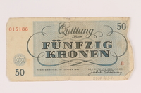 2009.263.11 back Theresienstadt ghetto-labor camp scrip, 50 kronen note, issued to a Dutch Jewish inmate  Click to enlarge