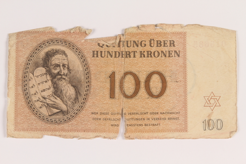 2009.263.12 front Theresienstadt ghetto-labor camp scrip, 100 kronen note, issued to a Dutch Jewish inmate