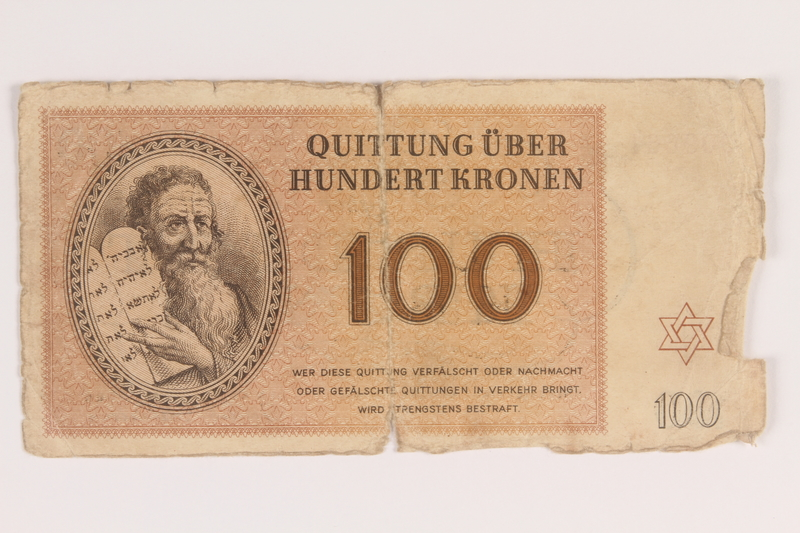 2009.263.13 front Theresienstadt ghetto-labor camp scrip, 100 kronen note, issued to a Dutch Jewish inmate