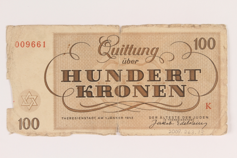 2009.263.13 back Theresienstadt ghetto-labor camp scrip, 100 kronen note, issued to a Dutch Jewish inmate
