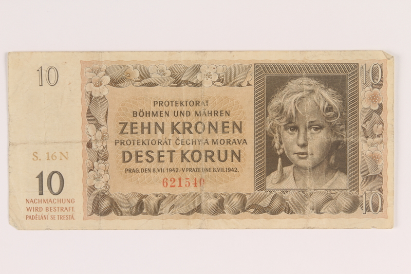 2009.263.14 front German occupation currency note, 10 kronen, issued in the Protectorate of Bohemia and Moravia