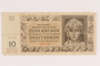 German occupation currency note, 10 kronen, issued in the Protectorate of Bohemia and Moravia