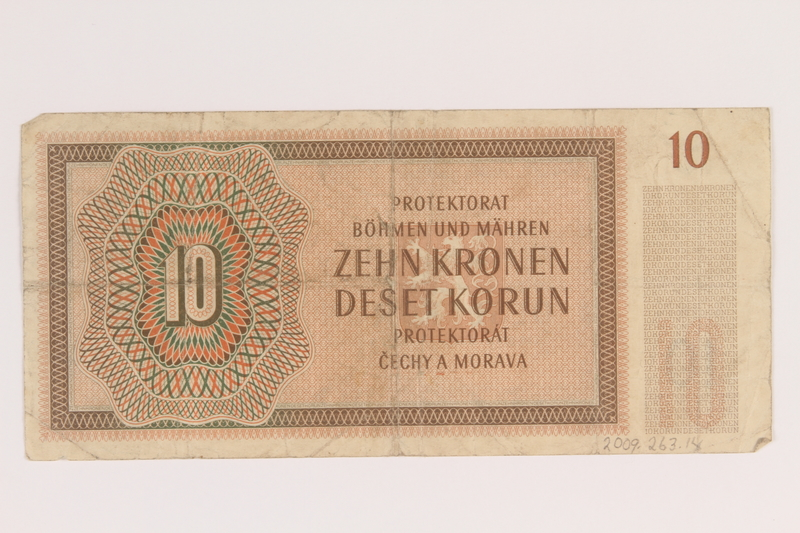 2009.263.14 back German occupation currency note, 10 kronen, issued in the Protectorate of Bohemia and Moravia