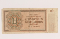 2009.263.14 back German occupation currency note, 10 kronen, issued in the Protectorate of Bohemia and Moravia  Click to enlarge